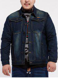 Front Pocket Design Plus Size Denim Jacket - DENIM BLUE