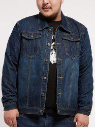Turndown Collar Multi Pocket Plus Size Denim Jacket - DENIM BLUE