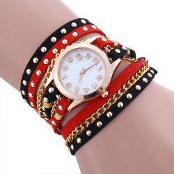 Chain Studed Faux Leather Bracelet Quartz Watch