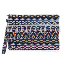 Tribal Print Canvas Clutch Bag
