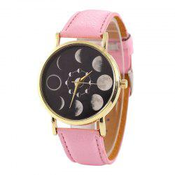 Lunar Eclipse Face Faux Leather Strap Watch
