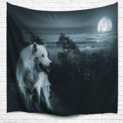 Wild Wolf Wall Hanging Beach Blanket Tapestry - Black Grey - W59 Inch * L79 Inch