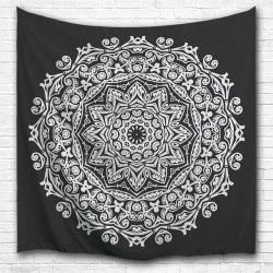 Mandala Bed Cover Dorm Decor Wall Art Tapestry - Black White - W59 Inch * L59 Inch