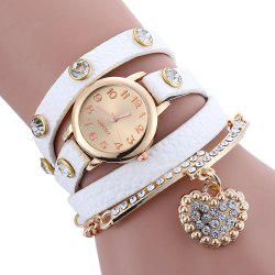 Rhinestone Faux Leather Strap Charm Bracelet Watch - WHITE