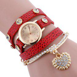 Rhinestone Faux Leather Strap Charm Bracelet Watch