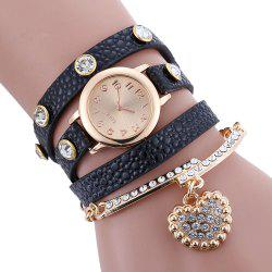 Rhinestone Faux Leather Strap Charm Bracelet Watch - BLACK