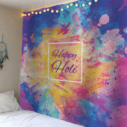 Home Decor Happy Holi Watercolor Waterproof Wall Tapestry