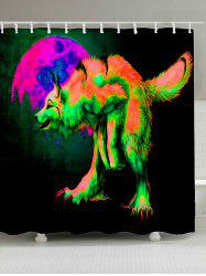 Wolf Moon Print Waterproof Fabric Shower Curtain