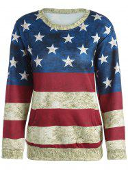 American Flag 3D Print Distressed Sweatshirt