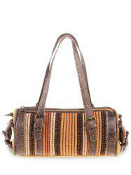 Ethnic Canvas Cylinder Shaped Tote Bag - GINGER
