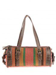 Ethnic Canvas Cylinder Shaped Tote Bag