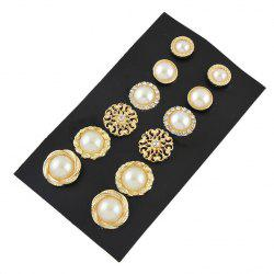 Faux Pearl Rhinestone Graduated Earring Set