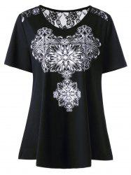 Lace Insert Jewelry Print Plus Size T-Shirt
