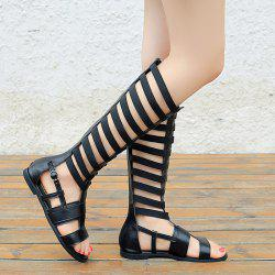 Faux Leather Elastic Band Flat Sandals