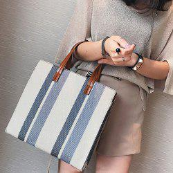 Stripe Canvas Tote Bag - GRAY