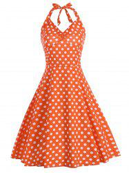 A Line Lace Up Polka Dot Halter Dress