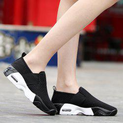 Breathable Elastic Band Mesh Athletic Shoes - BLACK