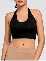 Sports Crop Halter Top - BLACK