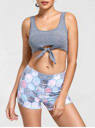 Active Cropped Front Tie Tank Top - LIGHT GREY