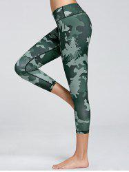 High Waist Camo Print Fitness Leggings - GREEN