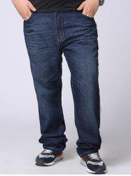 Zipper Fly Plus Size Straight Leg Jeans - Denim Bleu