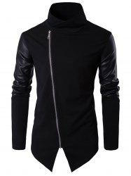 Faux Leather Panel Asymmetrical Zip Pullover Top