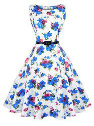 Vintage Sleeveless Floral Swing Dress