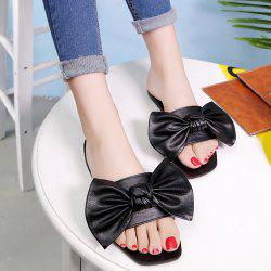 Bowknot Flat Heel Faux Leather Slippers - BLACK