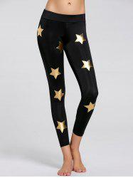 Glitter Star Printed Sports Leggings -