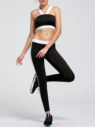 Sports Two Tone Bandeau Bra and Leggings Set