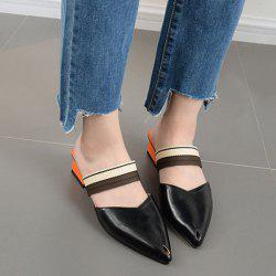 Block Heel Point Toe Mules Shoes -