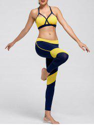 Cutout Padded Sports Bra and Leggings - YELLOW