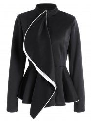Ruffles Color Block Zip Up Peplum Jacket - BLACK