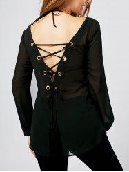 Lace Up Back Slit Sheer Blouse