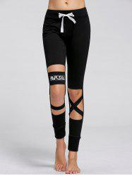 Sports Drawstring Cutout Ripped Joggers - BLACK
