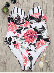Floral One Piece Push Up Swimsuit - 2xl