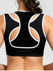 Two-layered Contrast Padded Sports Bra - BLACK