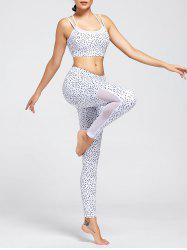 Unlined Printed Strappy Bra and Mesh Insert Workout Leggings - WHITE