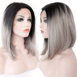 Medium Colormix Side Part Straight Bob Lace Front Synthetic Wig