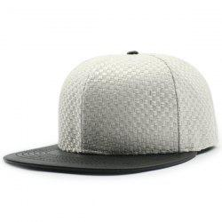 Flat Brim Spliced Tiny Plaid Baseball Cap - WHITE