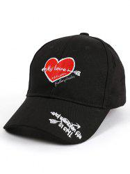Letters Heart Embroidered Band Baseball Cap - BLACK