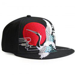 Red Crowned Crane Embroidered Retro Baseball Hat