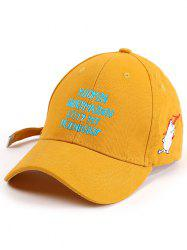 Long Tail Letters Cartoon Bear Embroidery Cap