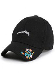 Letters Flowers Embroidered Baseball Cap