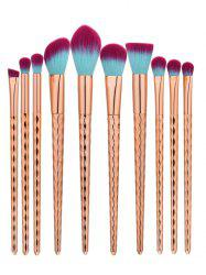 10Pcs Wave Handle Nylon Makeup Brushes Set - ROSE GOLD