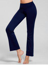 Stretch Flare Yoga Pants with Pocket - DEEP BLUE
