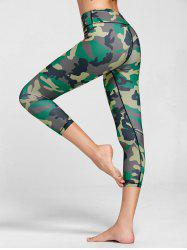 High Rise Camouflage Print Fitness Leggings - GREEN