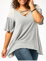 Criss Cross Drop Shoulder Plus Size Tunic T-Shirt - LIGHT GRAY