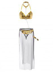 Metallic Mesh Sheer Bra Cosplay Suit - GOLDEN