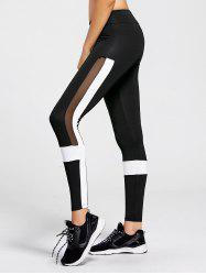 Contrast  Workout Leggings with Mesh Panel - BLACK